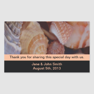 Beach Wedding Favor Stickers: Seashells on Black Rectangular Sticker