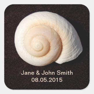 Beach Wedding Favor Stickers: Snail Design Square Sticker
