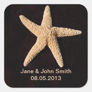 Beach Wedding Favor Stickers: Starfish on Black Square Sticker