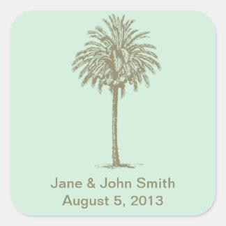 Beach Wedding Favor Stickers: Taupe Palm on Aqua Square Sticker