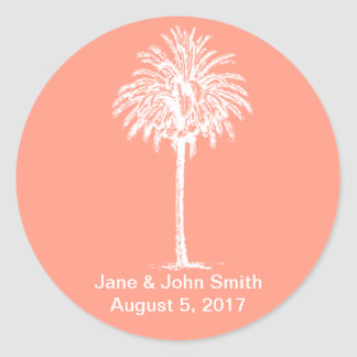 Beach Wedding Favor Stickers: White Palm on Coral Classic Round Sticker