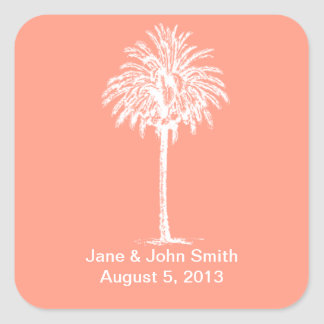 Beach Wedding Favor Stickers: White Palm on Coral Square Sticker