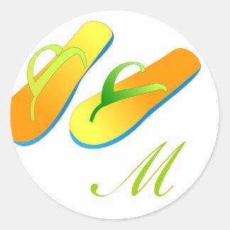Beach Wedding Favour Stickers Flip Flops Monogram