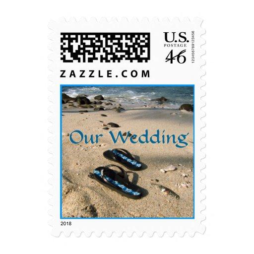Beach Wedding Flip Flop Sandals Postage Stamp