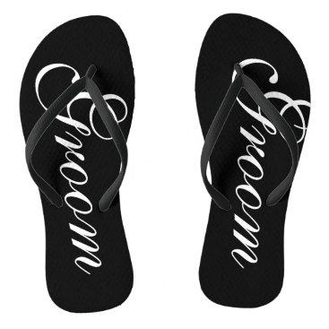 Beach Themed Beach wedding flip flops for groom and bride