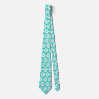 Beach Wedding Flower Pattern Turquoise Blue Neck Tie