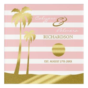 Beach Themed Beach Wedding Gold Glitter Palm Trees Pink Stripes Acrylic Wall Art