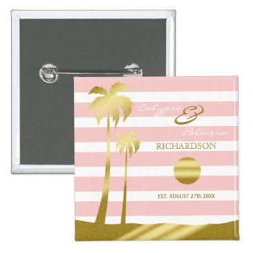 Beach Themed Beach Wedding Gold Glitter Palm Trees Pink Stripes Button
