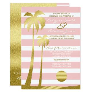 Beach Wedding Gold Glitter Palm Trees Pink Stripes Card
