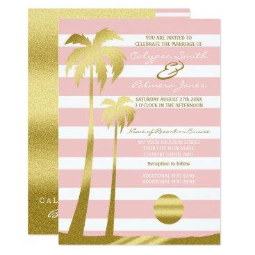 Beach Themed Beach Wedding Gold Glitter Palm Trees Pink Stripes Card