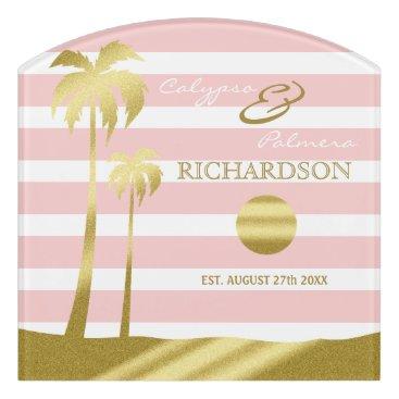 Beach Themed Beach Wedding Gold Glitter Palm Trees Pink Stripes Door Sign