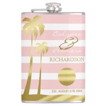 Beach Themed Beach Wedding Gold Glitter Palm Trees Pink Stripes Hip Flask