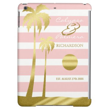Beach Themed Beach Wedding Gold Glitter Palm Trees Pink Stripes iPad Air Cover