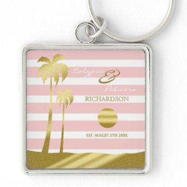 Beach Themed Beach Wedding Gold Glitter Palm Trees Pink Stripes Keychain