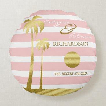 Beach Themed Beach Wedding Gold Glitter Palm Trees Pink Stripes Round Pillow