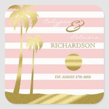Beach Themed Beach Wedding Gold Glitter Palm Trees Pink Stripes Square Sticker