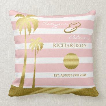 Beach Themed Beach Wedding Gold Glitter Palm Trees Pink Stripes Throw Pillow