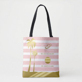 Beach Wedding Gold Glitter Palm Trees Pink Stripes Tote Bag