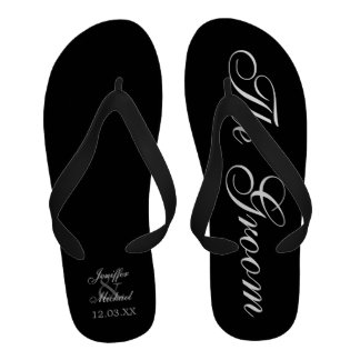 Beach Wedding Groom Personalized Flip-Flops