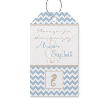 Beach Themed Beach Wedding Guest Favor Seahorse and Chevron Gift Tags