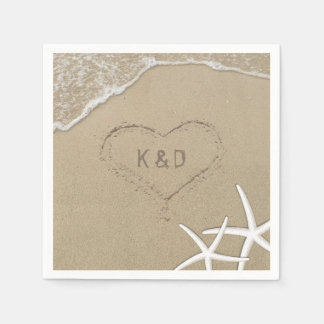 Beach Wedding Heart in the Sand Starfish Napkin