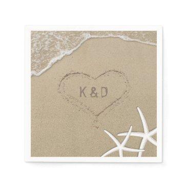 Valentines Themed Beach Wedding Heart in the Sand Starfish Napkin