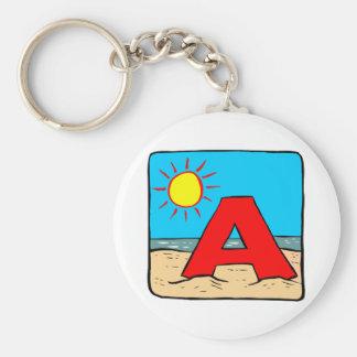 Beach Wedding Ideas Letter A Basic Round Button Keychain