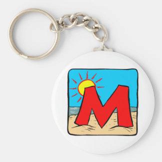 Beach Wedding Ideas Letter M Basic Round Button Keychain