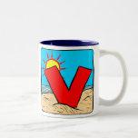 Beach Wedding Ideas Letter V Coffee Mugs