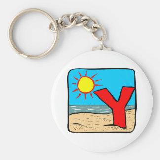 Beach Wedding Ideas Letter Y Basic Round Button Keychain