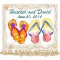flip flops beach wedding save the date card