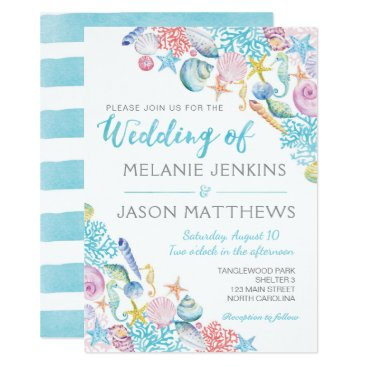 Beach Themed Beach Wedding Invitation