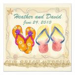 Beach Wedding 5.25x5.25 Square Paper Invitation Card