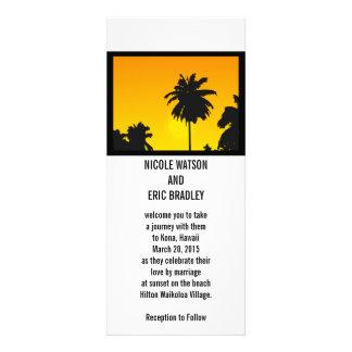 Beach Wedding Invitation Cards Sunset Palm Trees