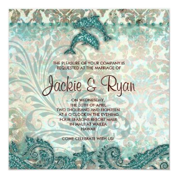 Beach Themed Beach Wedding Invitation Dolphins Vintage Teal