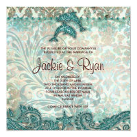 Beach Wedding Invitation Dolphins Vintage Teal