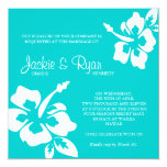 "Beach Wedding Invitation Hibiscus Flower Blue 5.25"" Square Invitation Card"
