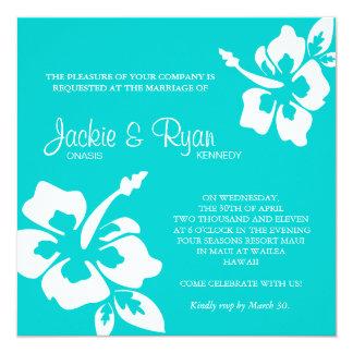 Beach Wedding Invitation Hibiscus Flower Blue