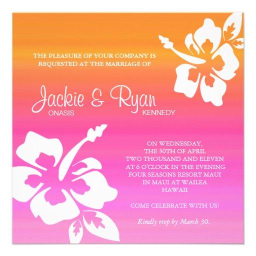 Beach Wedding Invitation Hibiscus Pink Orange 525 Square Invitation Card
