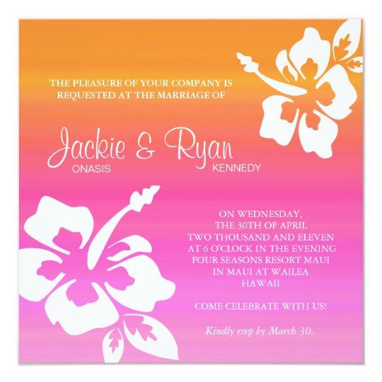 Pink Orange Wedding Invitations: Beach Wedding Invitation Hibiscus Pink Orange