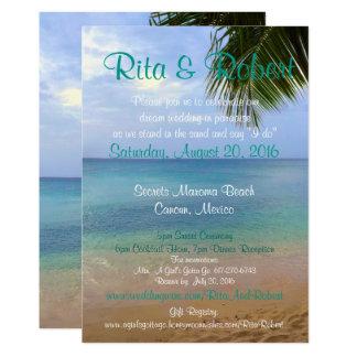 Beach Wedding Invitation - Ocean Art on Back