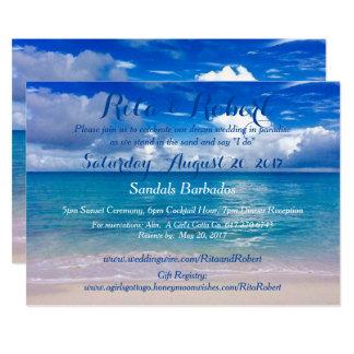 Beach Wedding Invitation - Ocean Blue Art on Back