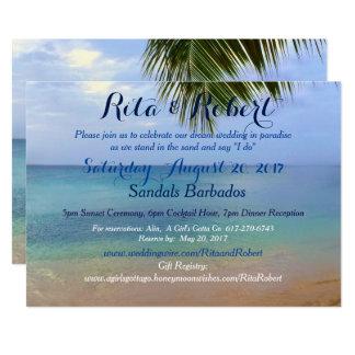 Beach Wedding Invitation - Ocean Palm Art on Back