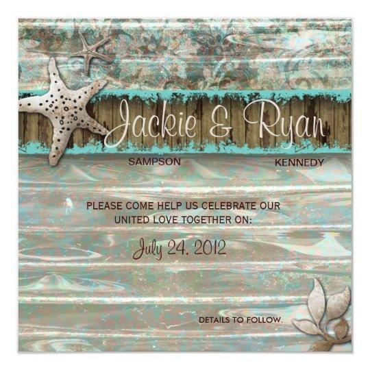 Beach Wedding Invitation Seashell Blue Vintage