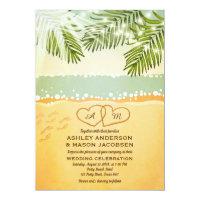 Beach wedding invitation shore hearts Tropical