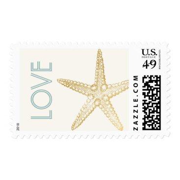 Beach Themed Beach Wedding Invitation Starfish Love Stamp