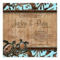 Beach Wedding Invitation Turtle Blue Brown