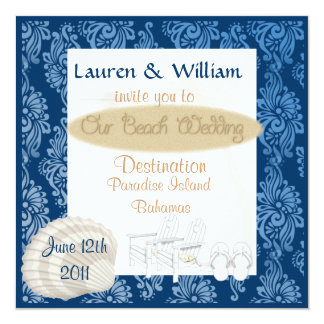"Beach Wedding Invitation With Damask 5.25"" Square Invitation Card"