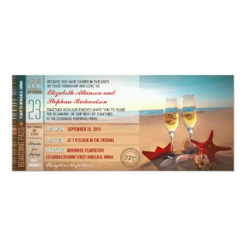 beach wedding invitations - boarding pass tickets custom invitations