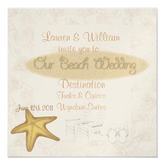 """BEACH Wedding Invitations FOR ALL Destinations 5.25"""" Square Invitation Card"""